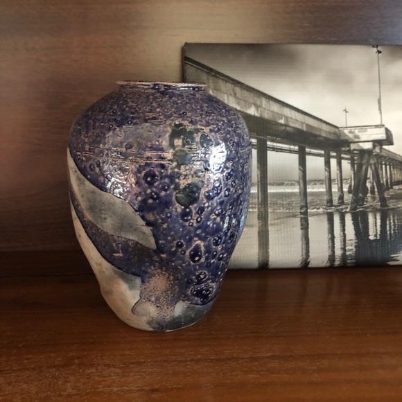 Vintage Handmade Fire Glazed Pottery Vase Vessel